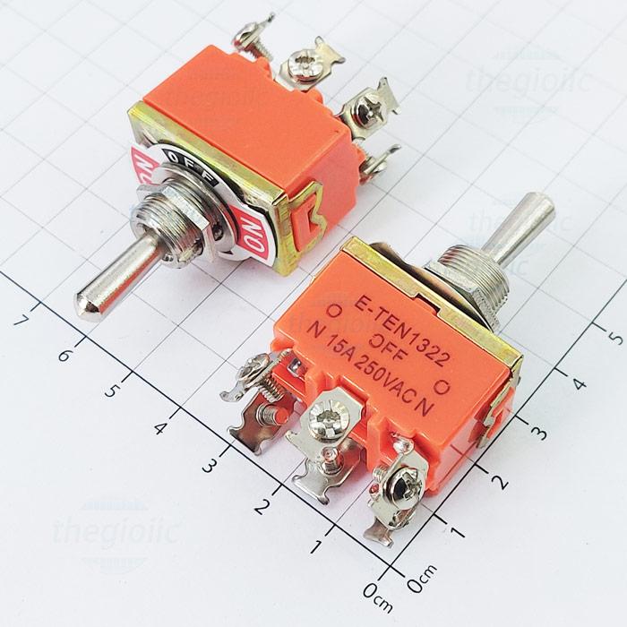 E-TEN-1322 Công Tắc Toggle ON-OFF-ON 6 Chân Siết Ốc 15A 250VAC
